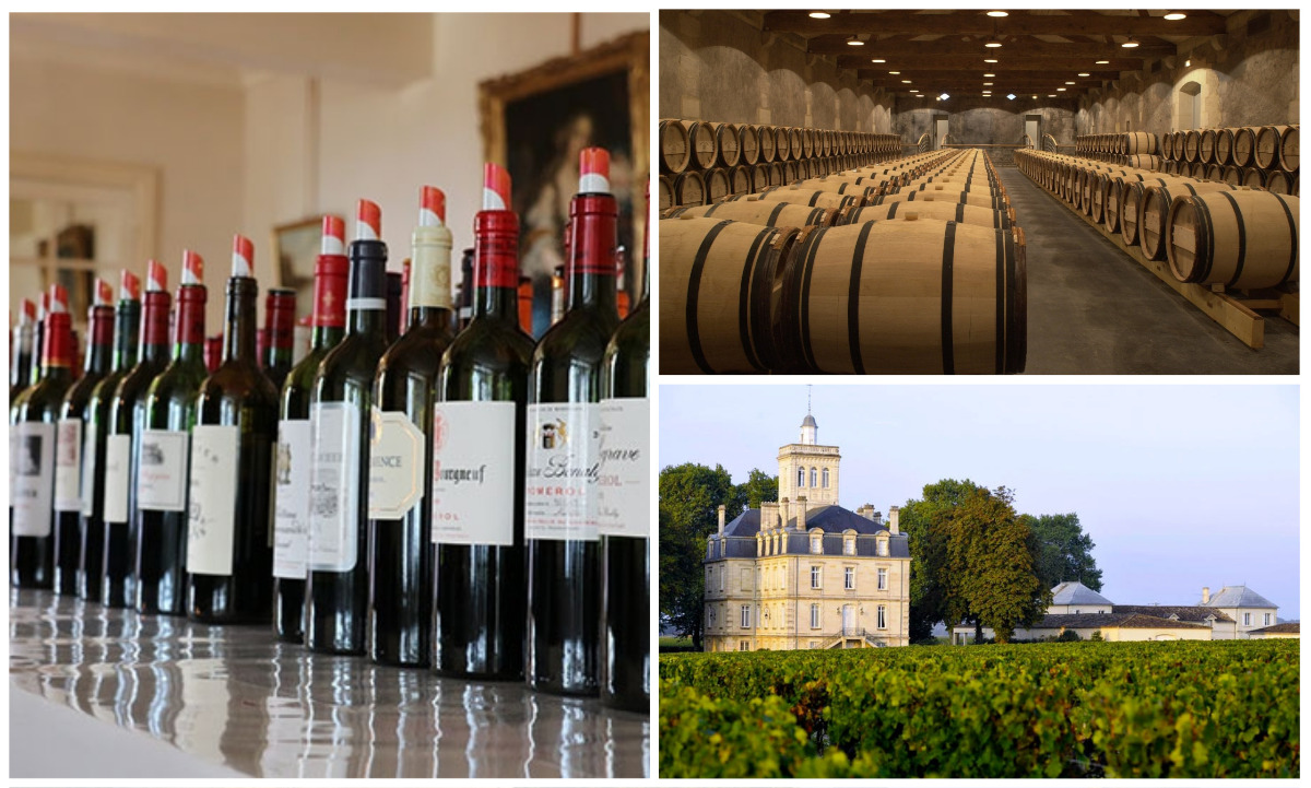 composite image showing en primeur bordeaux wines, barrels and a chateau with vineyards