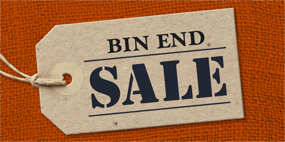a tag with bin end sale written on it